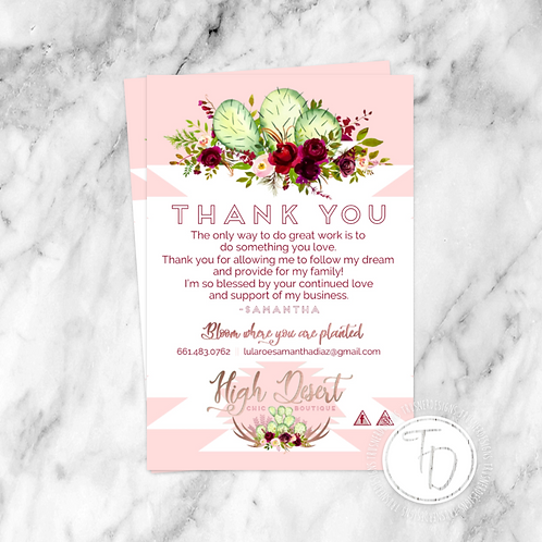 Thank You Card - Single Sided