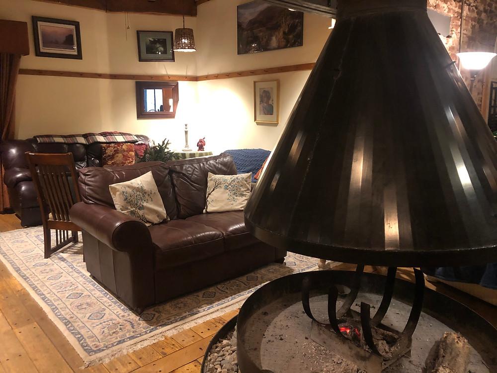The Inn at Shaker Mill Falls circular fireplace