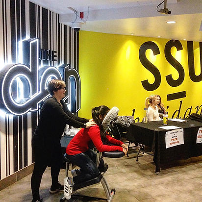 Deep tissue chair massages for the Sheridan college campus.