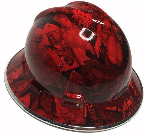Red Naughty Boy With Chrome EdgeGard MSA V-Gard Full Brim