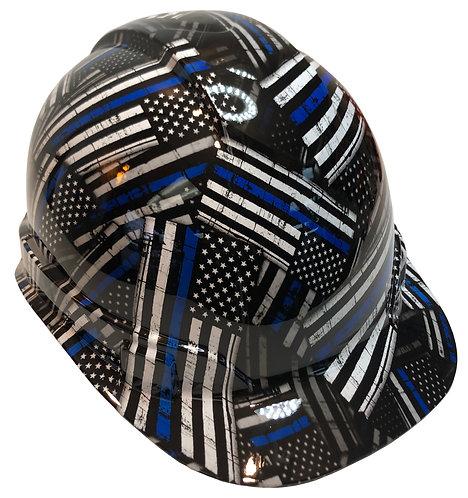 American Flag Thin Blue Line High Gloss Ridgeline Cap Style