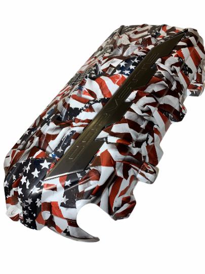 Custom Hydro Dipped 2020+ Corvette Engine Cover American Flags matte finish