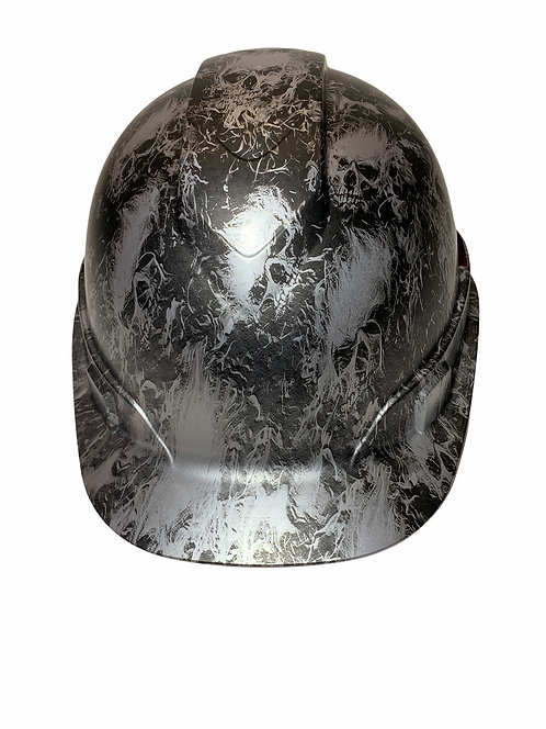 Hard Hat Ridgeline Cap Style Custom Silver Metallic Small Flaming Skulls