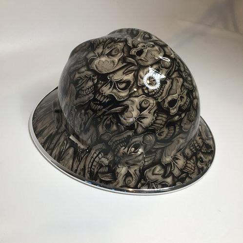 MSA V Guard Full Brim Woodgrain Insanity Skulls W/ Chrome EdgeGuard