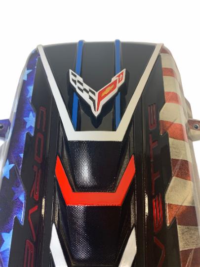 Custom Hydro Dipped 2020+ Corvette Engine Cover Stars and Stripes w corvette Red