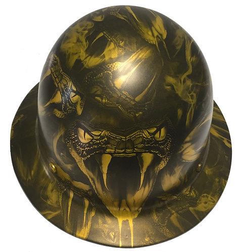 Hard Hat MSA Skullgard Full Brim Custom HOK Gold Viper Satin
