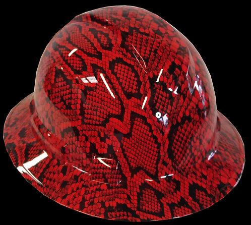 Red Snakeskin Full Brim Hard Hat