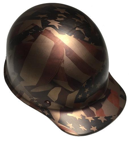 Hard Hat MSA Skullgard Custom Copper Metallic American Flag Satin Finish