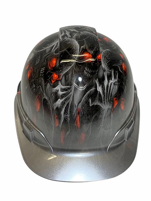 Hard Hat Ridgeline Cap Style Custom Silver Metallic Creeper Red Eye w silver met