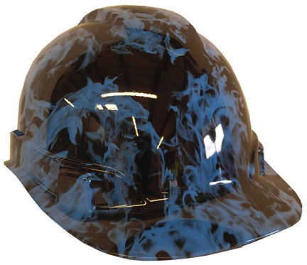Light Blue Flames Hard Hat