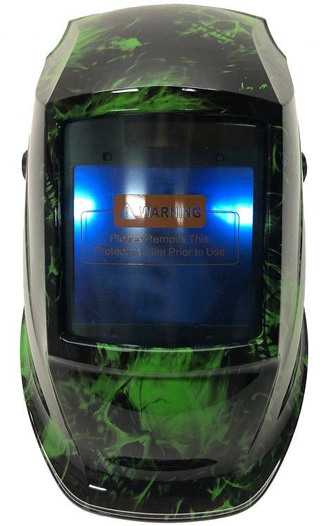Alien Green Flaming Skulls WHAM30 Series Pyramex Welding Helmet