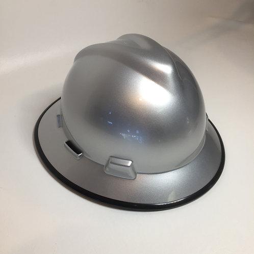 Silver Metallic High Gloss W/ Black EdgeGard MSA V-Gard Full Brim
