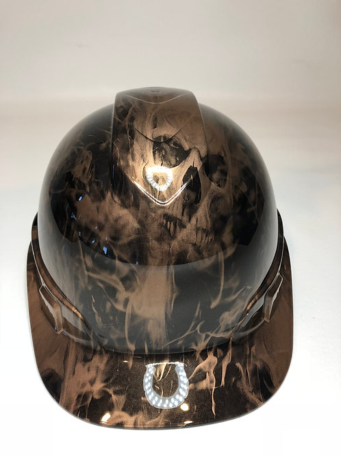 Copper Metalic Flaming Skulls Hard Hat