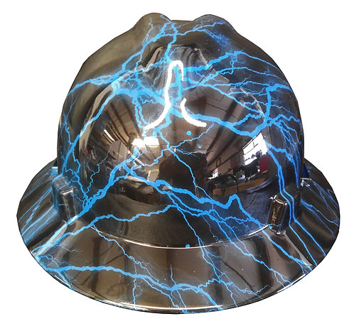 Blue Lightning High Gloss MSA V-Gard Full Brim