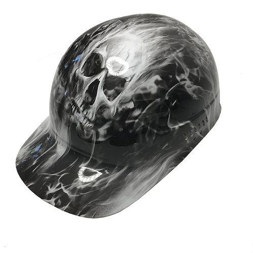 White Flaming Skulls Bump Cap High Gloss