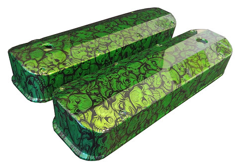 Big Block Ford Hydro Dipped Synergy Green Insanity Skulls Valve Covers 6874G