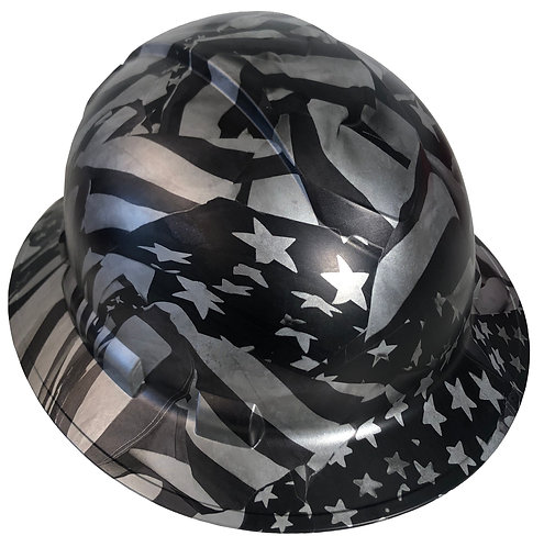 Silver Metallic Midnight American Flags Ridgeline Full Brim Satin