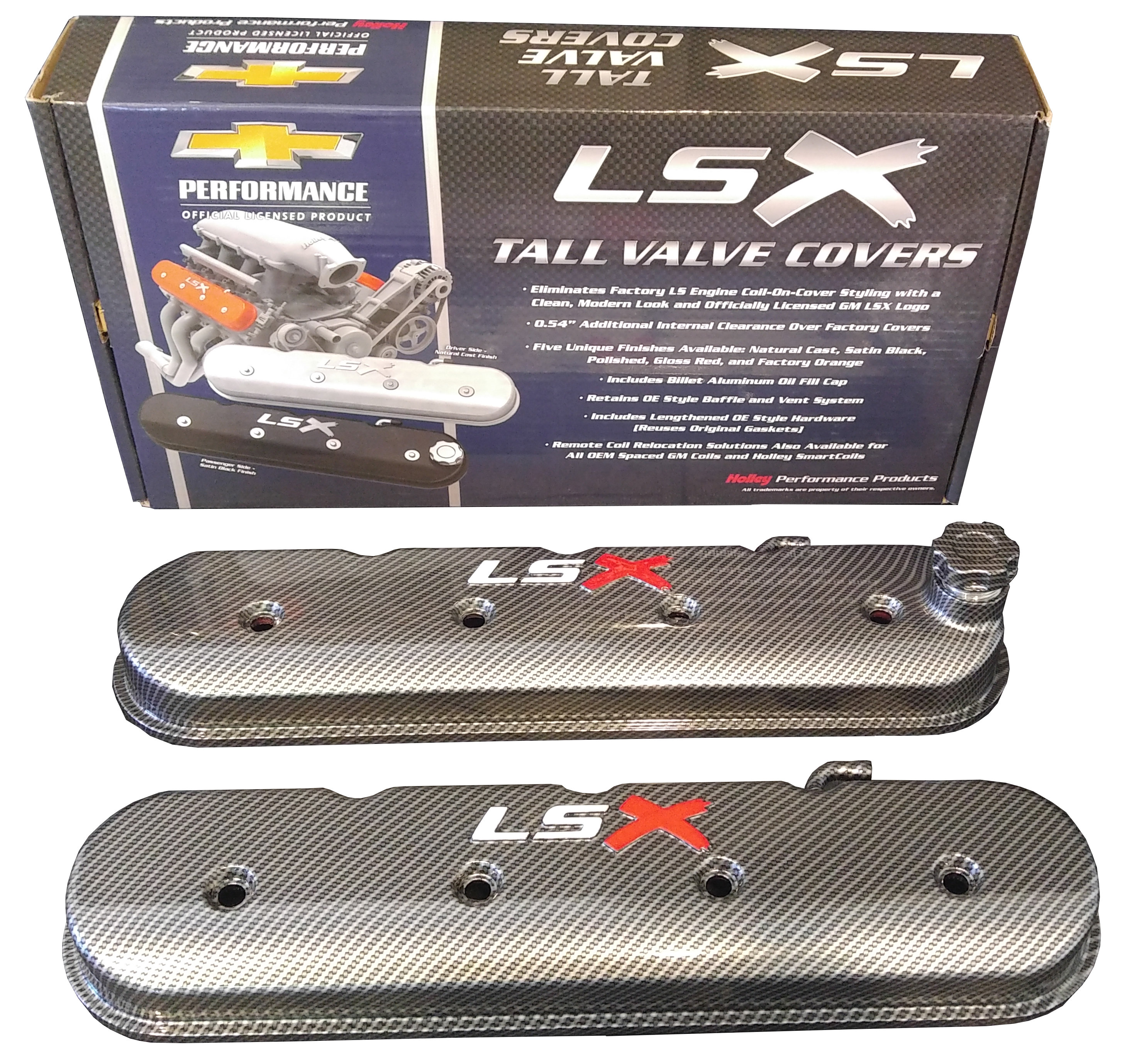 Tall LS Valve Cover with LSX Logo Carbon Fiber Holley 241-405   bagrbuck