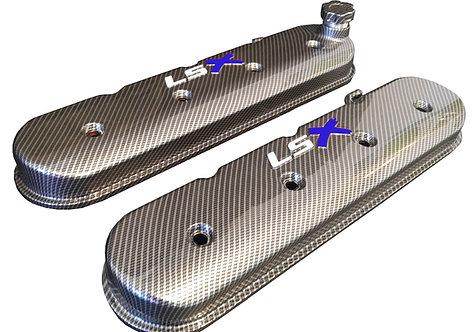 LSX Hydro Dipped Carbon Fiber Valve Covers 241-405 W/White LS Blue X
