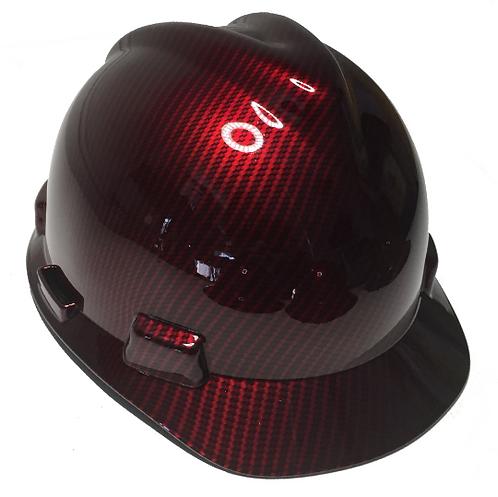 Red Kandy Carbon Fiber MSA V Guard Cap Style