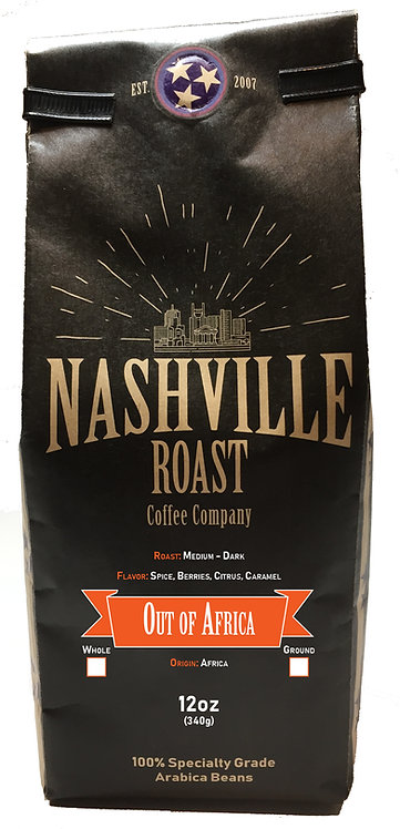 Nashville Roast Coffee Company Out Of Africa, Whole Bean, 12 Oz Bag
