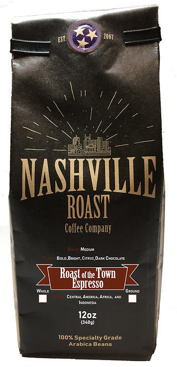 Nashville Roast Coffee Company Roast Of The Town, Whole Bean, 12 Oz Bag