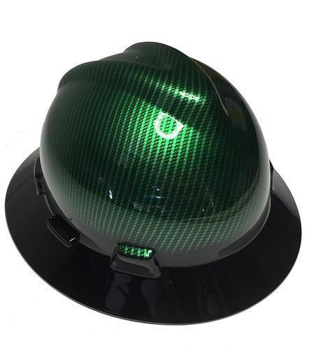Kandy Green Hydro DIpped Carbon Fiber W/Black BrimMSA V-Gard Full Brim