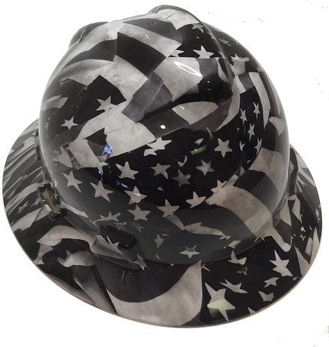 MSA V Guard Full Brim Blackand White American Flags