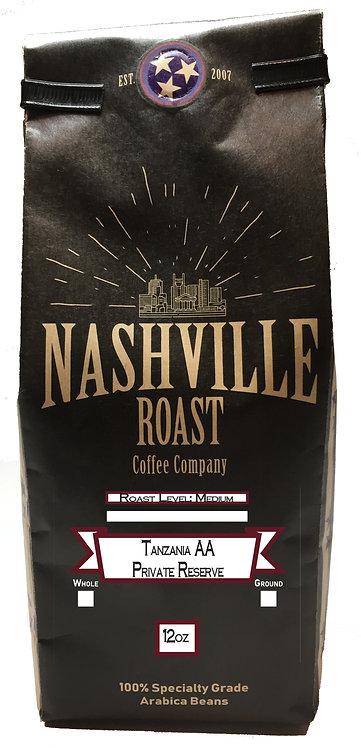 Nashville Roast Coffee Company Tazzania AA Private Reserve,Whole Bean, 12 Oz Bag