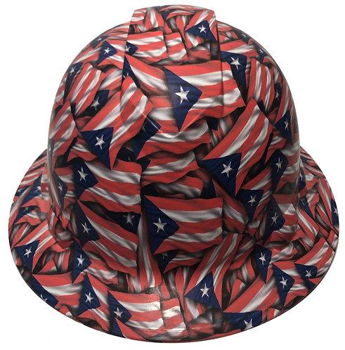 Colored Puerto Rico Flags Satin Ridgeline Full Brim