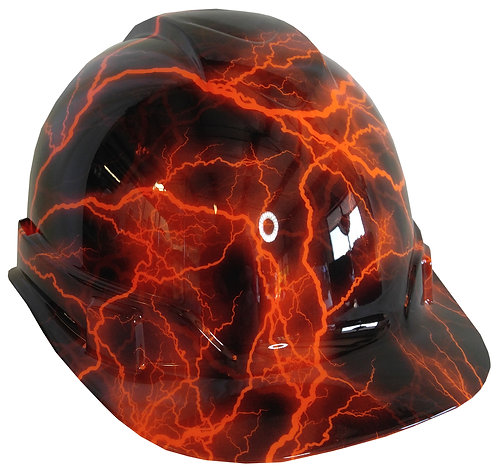 Orange Lightning Hard Hat