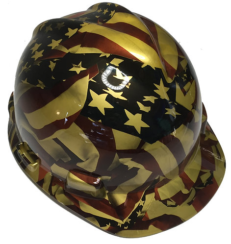 MSA Cap Style Gold Metalic American Flags High Gloss