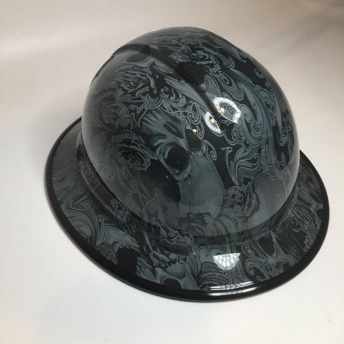 Slate Grey Filigree Skulls Full Brim Hard Hat W/ Black EdgeGuard