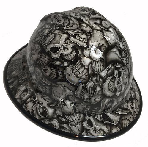 White Insanity Skulls High Gloaa W/Black EdgeGard MSA V-Gard Full Brim