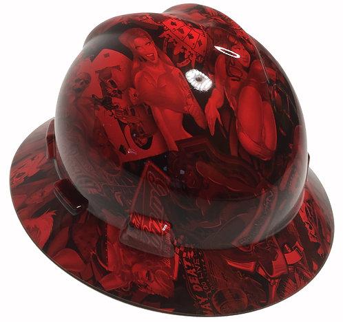Red Naughty Boy High Gloss MSA V-Gard Full Brim