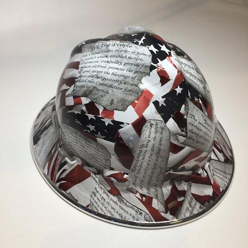 Amendments American Flag High Gloss W/Chrome EdgeGard MSA V-Gard Full Brim