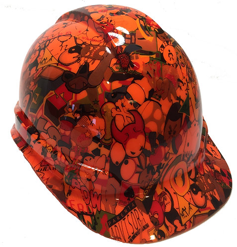 Orange Sticker Bomb Hard Hat