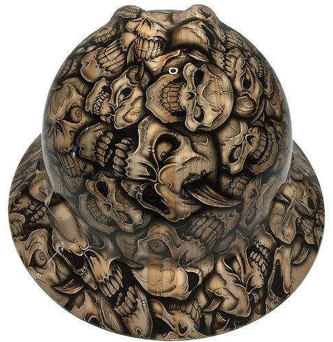 Woodgrain Insanity Skulls MSA V-Gard Full Brim