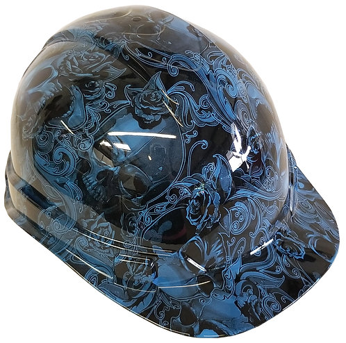 Light Blue Filigree Skulls Hard Hat