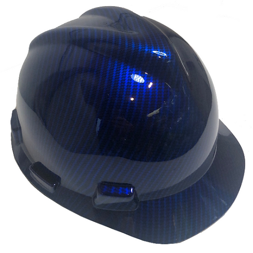 Blue Kandy Carbon Fiber MSA V Guard Cap Style