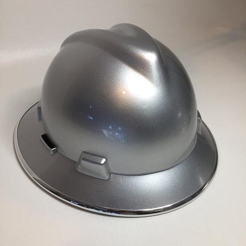 Silver Metallic High Gloss W/Chrome EdgeGard MSA V-Gard Full Brim