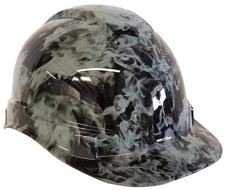 Light Grey Flames Hard Hat