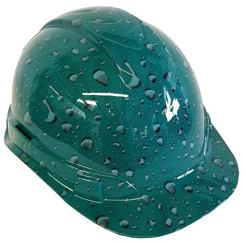 Green Raindrops Hard Hat