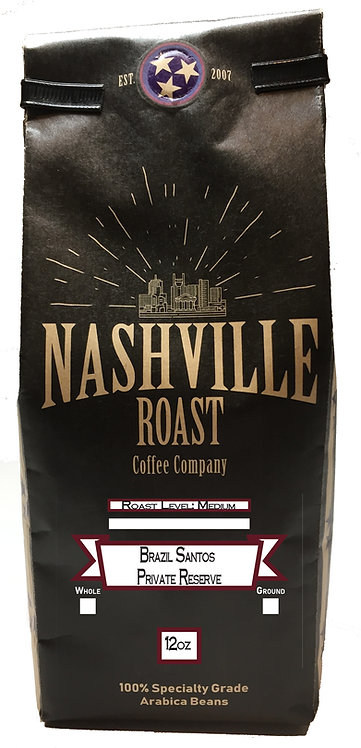 Nashville Roast Coffee Company Brazil Santos Private Reserve, Whole Bean, 12 Oz