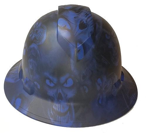 Blue Hades Skulls Satin Ridgeline Full Brim