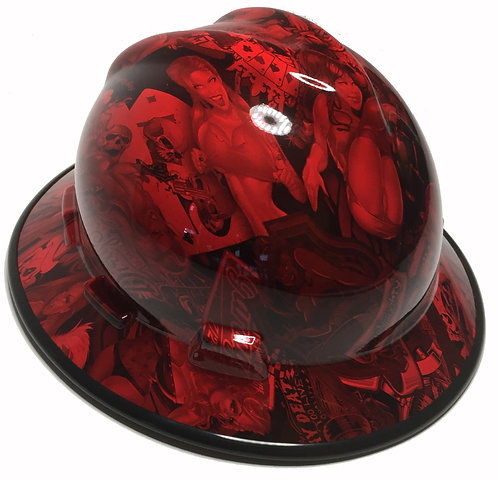 Red Naughty Boy With Black EdgeGard MSA V-Gard Full Brim