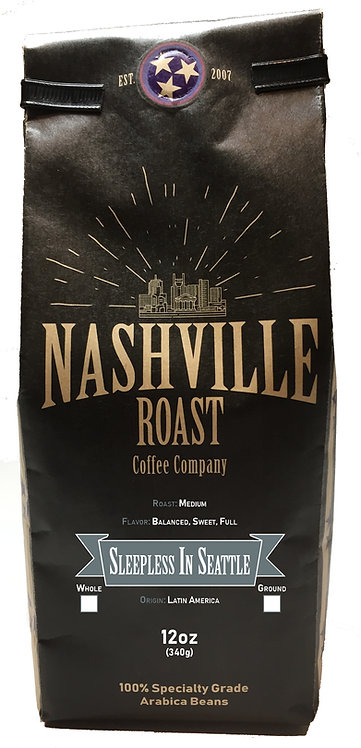 Nashveiile Roast Coffee Company Sleepless In Seattle, Whole Bean, 12 Oz Bag