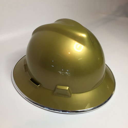 Metallic Gold High Gloss W/Chrom EdgeGard MSA V-Gard Full Brim
