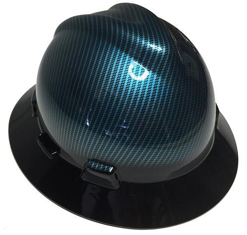 Kandy Light Blue Hydro Dipped Carbon Fiber W/ Black Brim MSA V-Gard Full Brim