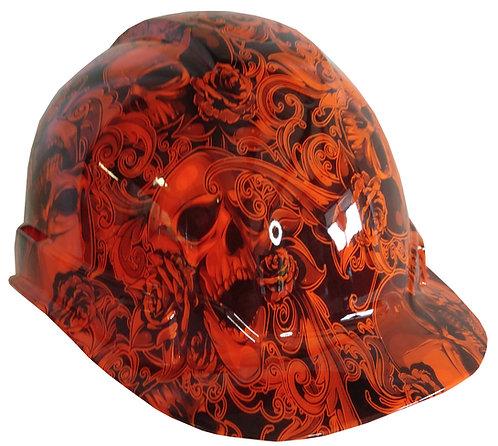 Orange Filigree Skulls Hard Hat